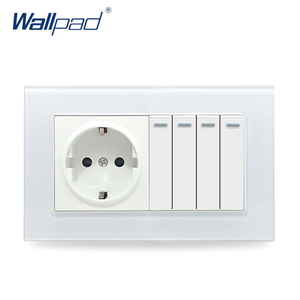 цена на 4 Gang Switch and EU Socket Wallpad Glass Panel 110V-250V 146*86mm Wall Socket with 4 Gangs 2 Way Push Button Rocker Wall Switch