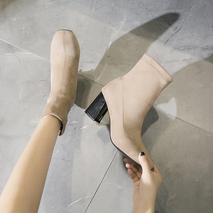 noir Carrée Automne Épais Nouveau Femmes 2018 Talons Sauvage Hauts Qualité Bottes Hiver À Chaussures Solide Dames Beige Haute Avec Tête gH6R5w