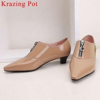 Krazing Pot office lady genuine leather classic square toe low heels metal zipper pumps mature woman leisure clubwear shoes La1