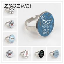 ZBOZWEI 2018 I Love Daddy So Much Ring Handmade Round Glass Cabochon Moustache Pattern Ring Holder Men Jewelry so much in love