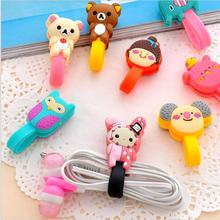Free shipping! Cute Cartoon Cable Winder/Earphone Bobbin Winder/Bag Clips with buttons 10pcs/lot.MIX COLOR.(China (Mainland))
