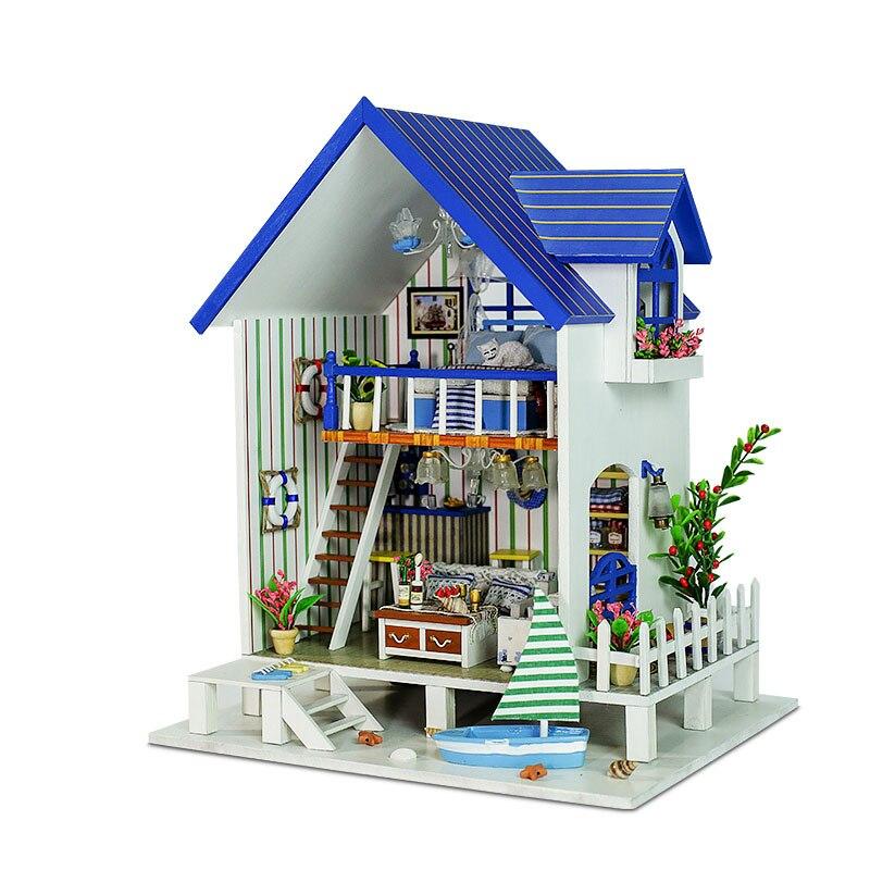 Лидер продаж поделки Кукольный дом деревянный DIY Главная игрушка кукла дом с Мебель светодиодный свет подарок на день рождения Венециански...