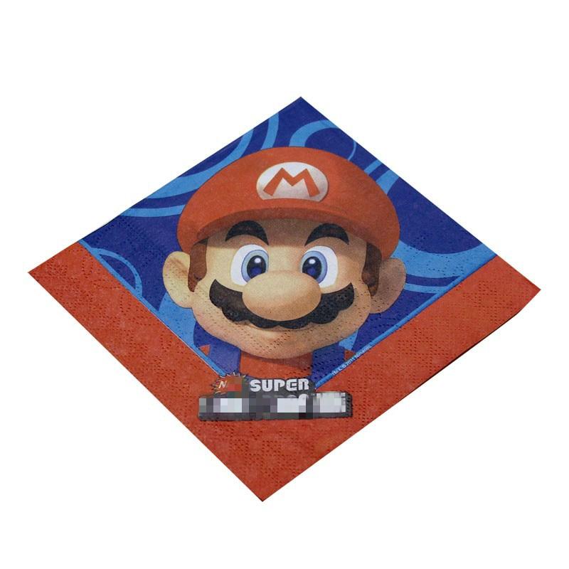 16pcs/pack Super Mario Bros disposable napkins birthday party decoration tableware