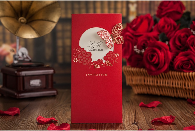 Luxury Wedding Invitations Red Gold Romantic Couple Marriage Invitation Card Envelopes Printing Convites