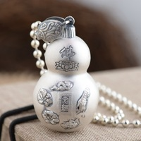 Deer King jewelry wholesale S990 Sterling Silver Heart Pendant Silver process Antique Style New gourd
