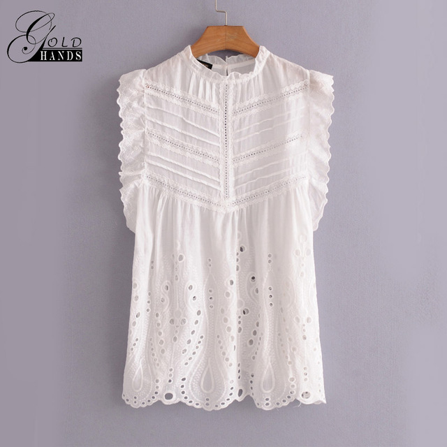 6c63f11068 Gold Hands Summer Sleeveless Ruffle Embroidery Floral Lace Crochet Tank  tops Women's Elegant White Vest Girls Sweet O-neck tops