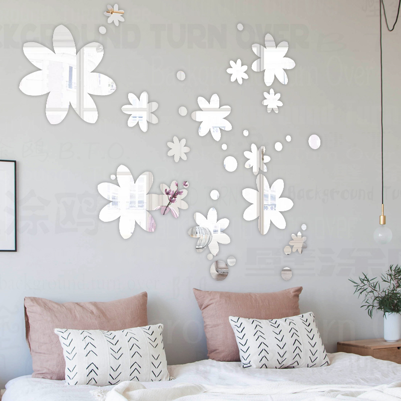 Mirror Wall Stickers Decor Sticker Bedroom Aesthetic Decals Room House Decoration Dorm Living Dots Bubbles Flower Girl R051
