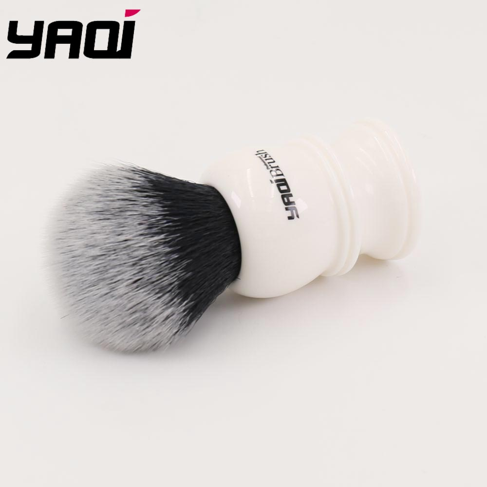 Купить с кэшбэком Yaqi 30mm Large Size Knot White Resin Handle Synthetic Hair Tuxedo Knot Men Shaving Brush