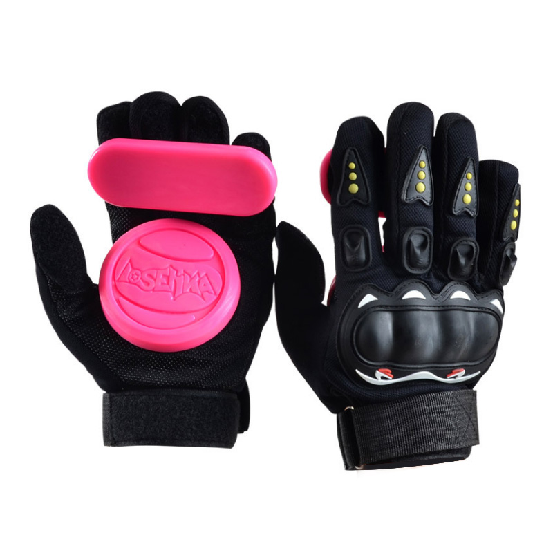 LOSENKA Long Board Slider Speed  Brake Gloves Skateboard Double Slide Block Intermediate Highway Downhill Brake Glove