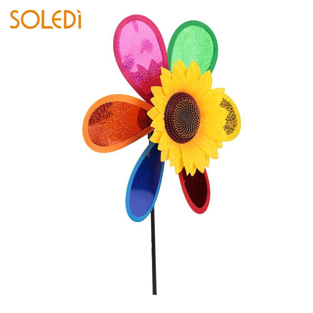 Sunflower Windmill 3D Plastic Yard Color Random Decoration Wind Spinner Home Garden Whirligig