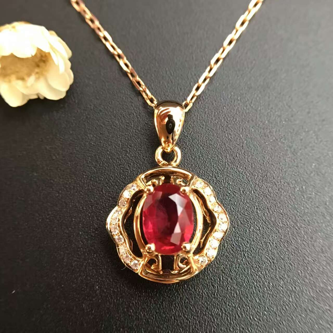 18K Gold 0 656ct Natural Ruby and Pendant font b Necklace b font 0 058ct font