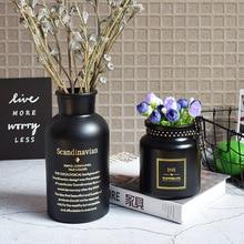 Matte Black Glass Hydroponic Plant Vintage Vase Artificial Bouquet with Wooden Table Home Wedding Decoration