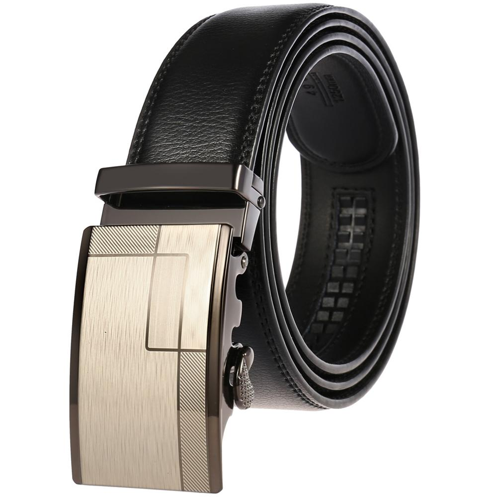 2019 Men 39 s Fashion Belt Genuine Leather Belts for Men Quality Metal Automatic Buckle Strap Male Jeans Waistband in Men 39 s Belts from Apparel Accessories