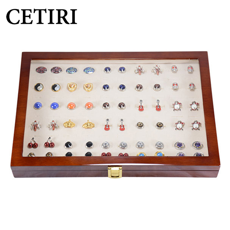 CETIRI 50 Pairs Cufflinks Box Large Cufflink Cases For Men Wooden Cufflink Holder For Men Gift Collection Display Box For Father