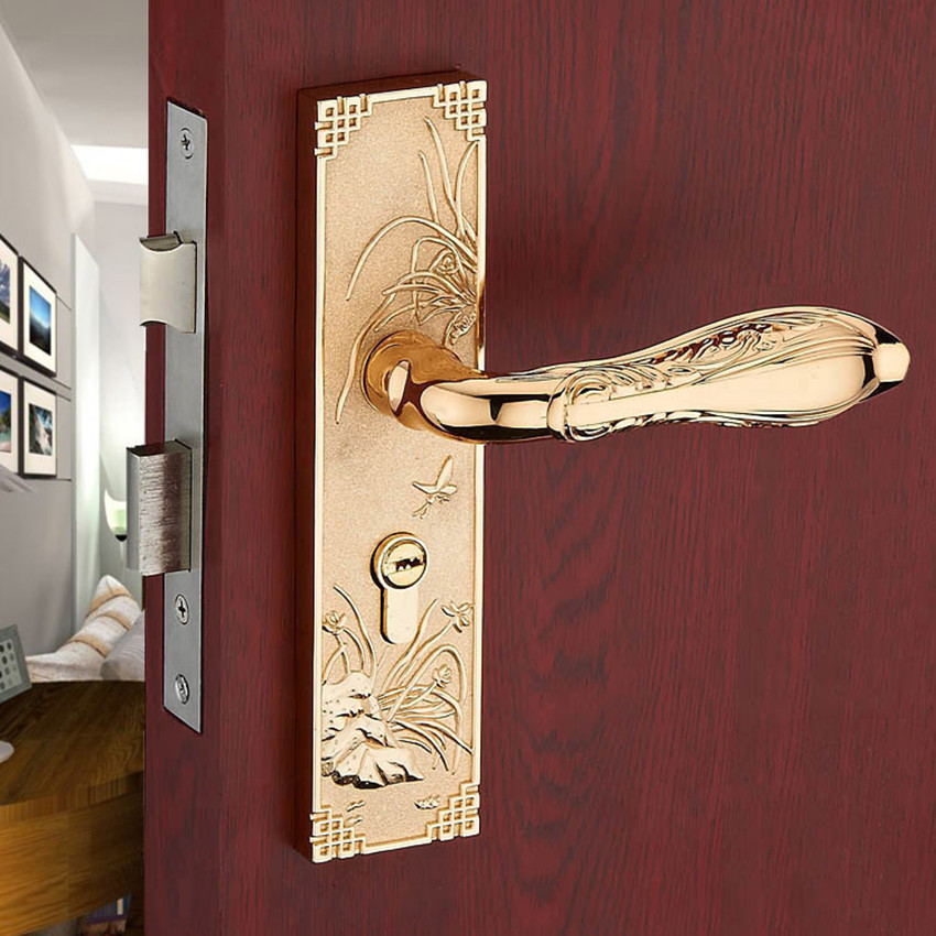 Modern simple fashion gold  live room book room door handles gold indoor lock Mechanical handle lock bearing lock body modern fashion top quality k9 clear crystal room wooden door lock silver chrome bedroom book room mechanical handle lock