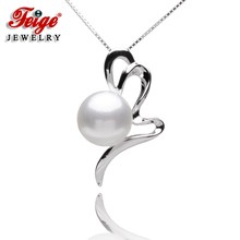 New Design Casual Style Womens Pearl Pendants,10-11mm White Natural Freshwater Pearls, 100% 925 Silver Chain,Pearl Jewelry