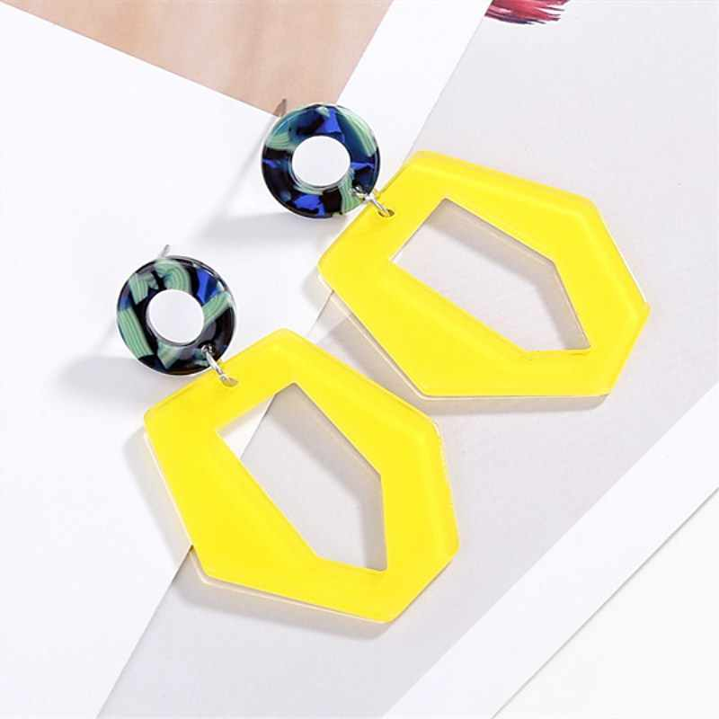 Acrylic Yellow Irregular Earrings for Women Hollow out Statement 2019 Long Earrings Female Fashion Jewelry Party Gfit