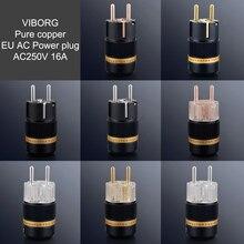 Viborg high end ue cobre puro plugue de alimentação ac schuko elétrica tomada conector ac250v 16a parafuso bloqueio para cabo de áudio alta fidelidade