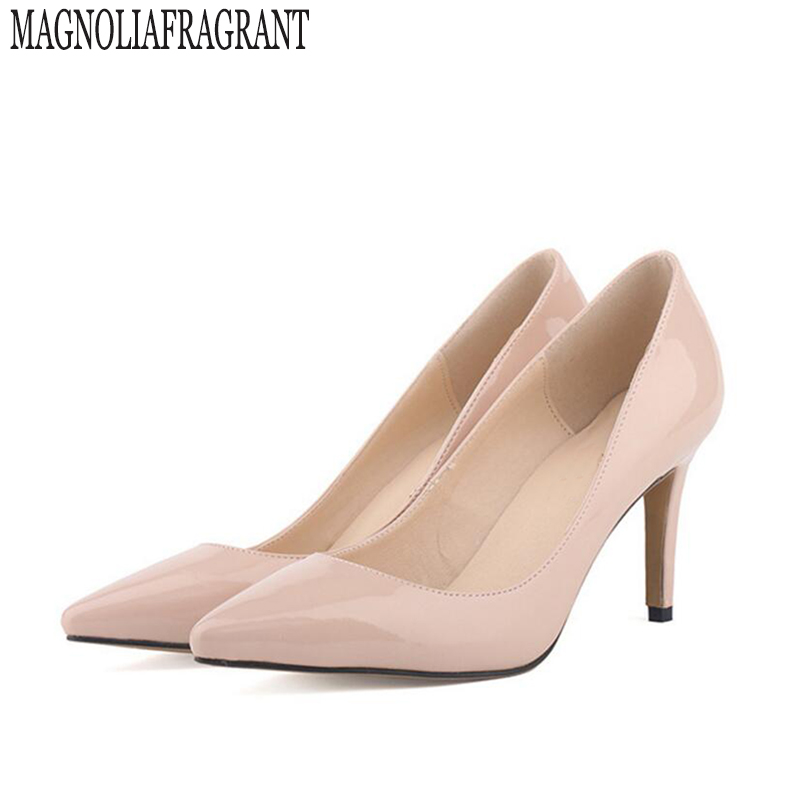 Sapatos Femininos Women Heels Pointed Corset Style OL Work Pumps Dance Court Shoes Wedding Tacones Patent US Size 4 11 w811