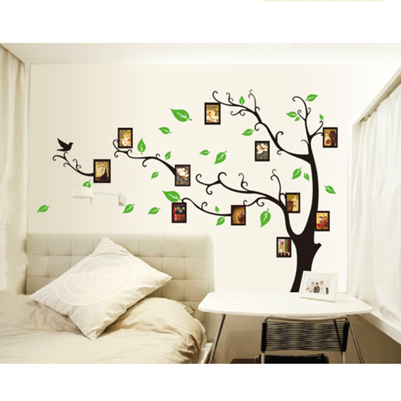 2017 new 3d diy family tree photo frame wall stickers for Diy family tree wall mural