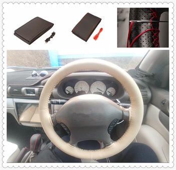 Car shape steering wheel cover knitting hand sewing auto parts for BMW all series 1 2 3 4 5 6 7 X E F-series E46 E90 F09 image