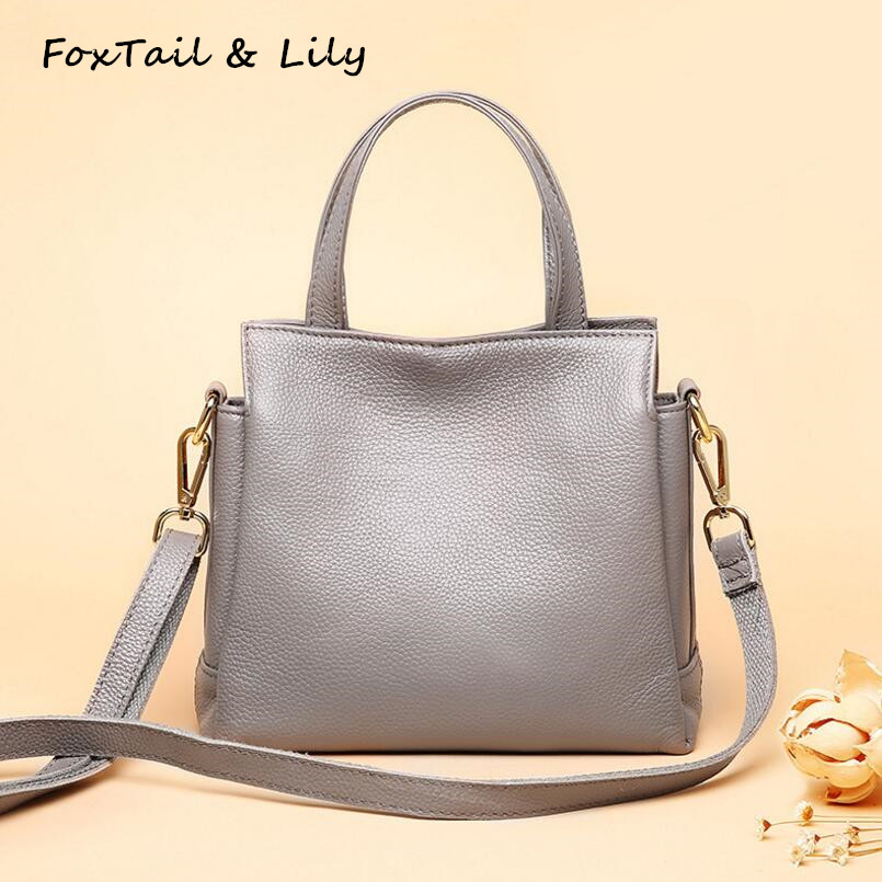 FoxTail & Lily New Brand Genuine Leather Bags for Women High Quality Handbags Soft Leather Shoulder Messenger Bags Simple Style