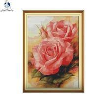 Radość niedziela różowa róża wzory Counted Cross stitch 11CT 14CT Handwork początkujących, jak zestaw do haftu hurtownie haft robótki