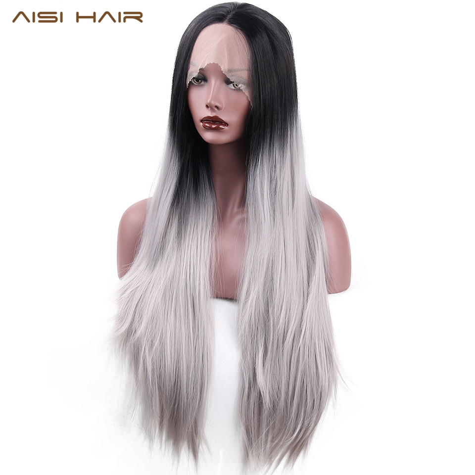 Aisi Hair Synthetic Lace Front Wigs Ombre Silver Gray Long Wavy Wig For Women Black Head Wave Hair Up-To-Date Styling