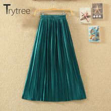 Trytree Silver Gold Pleated Skirt Womens Vintage High Waist Skirt 2018 Summer Long Skirts New(China)