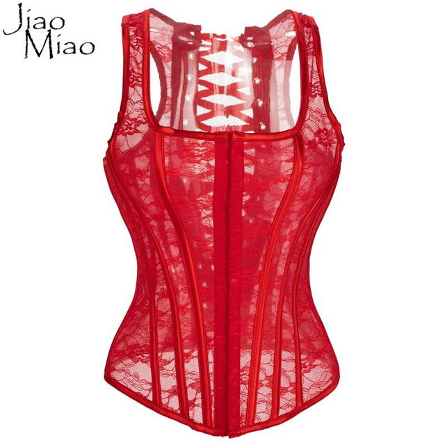 Jiao Miao Red Overbust With Straps Slimming Bodyshaper Bone Waist Trainer Corsets And Bustiers for Women Underwear Clothing