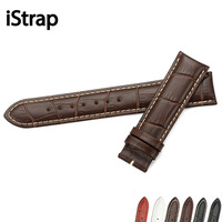 Crocodile Pattern Genuine Cow Leather Strap Watch Band Hand Stitch Butterfly Buckle Watchband Sized In 14