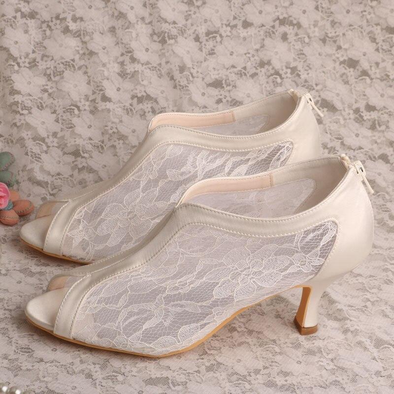 Wedopus MW323 Elegant White Lace Peep Toe Wedding Shoes