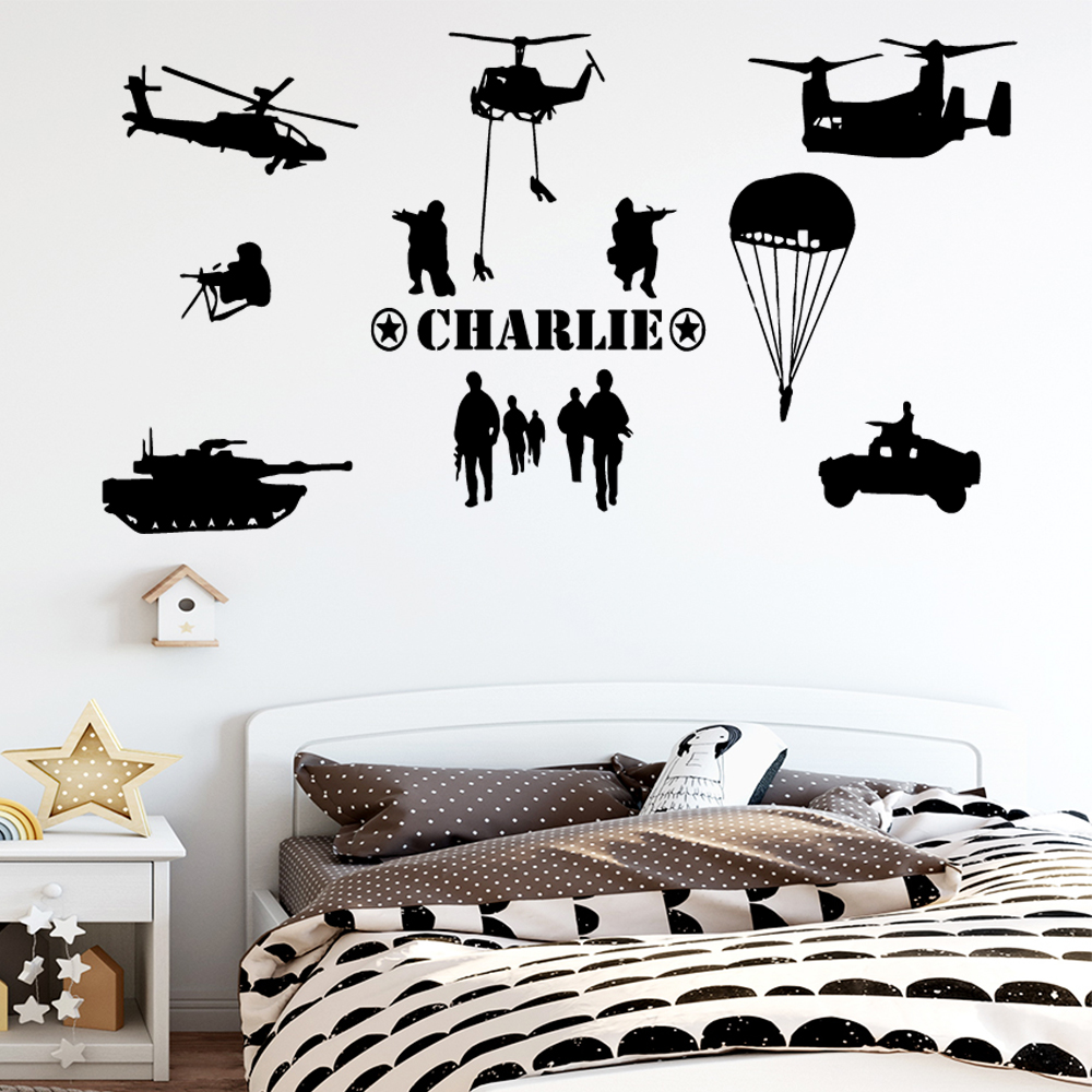 Diy Special Forces Custom Name Vinyl Self Adhesive Wallpaper For Kids Rooms Home Decor Background Bedroom Wall Art Decal in Wall Stickers from Home Garden