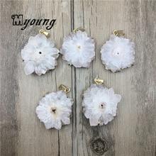 MY0450 Sun Flower Shape Druzy Quartz Slice Gold Color Edge Charms,Natural White Crystal Quartz Necklace Pendant Jewelry Making n091808 18 29 7 strands pearl necklace quartz druzy pendant