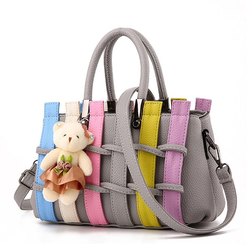Light Grey Casual PU Women Handbag Fashion Office Lady Shoulder Bag Weave Crossbody Messenger