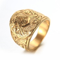 Gold Mens Embossed Stamped Freemason Masonic Ring 316L Stainless Steel Ring New Men S Jewelry