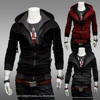 Men Hot Sale Autumn Fake Two Layer Zipper Hoodies And Sweatshirt Color Contrast Brand Men Hoody