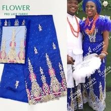 5+ 2 ярдов африканские камни Джордж кружевная ткань с сеткой кружева блестками вышитые Джордж кружева для невесты свадьбы Королевский синий ткань