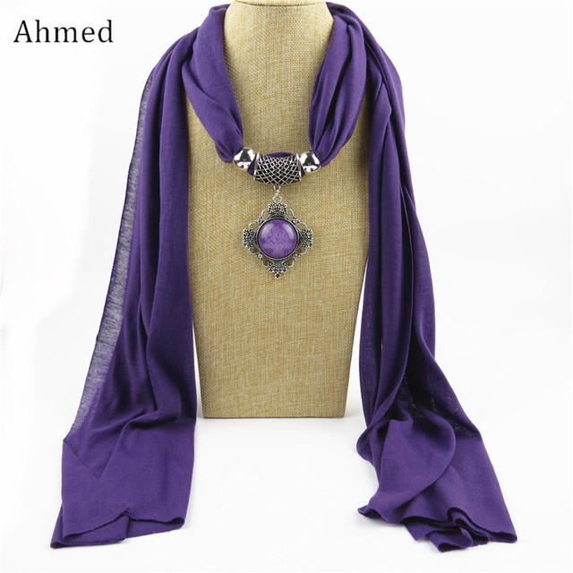Ahmed Autumn and Winter Resin Geometric Alloy Pendant Scarf Necklace New Ethnic Fashion Scarve Collar Bijoux Jewelry for Women