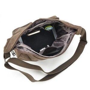 Image 5 - Erkek seyahat çantası tuval erkek postacı çantası tasarımcı marka çanta erkek çanta Vintage erkek evrak çantası iş omuzdan askili çanta Bolsas