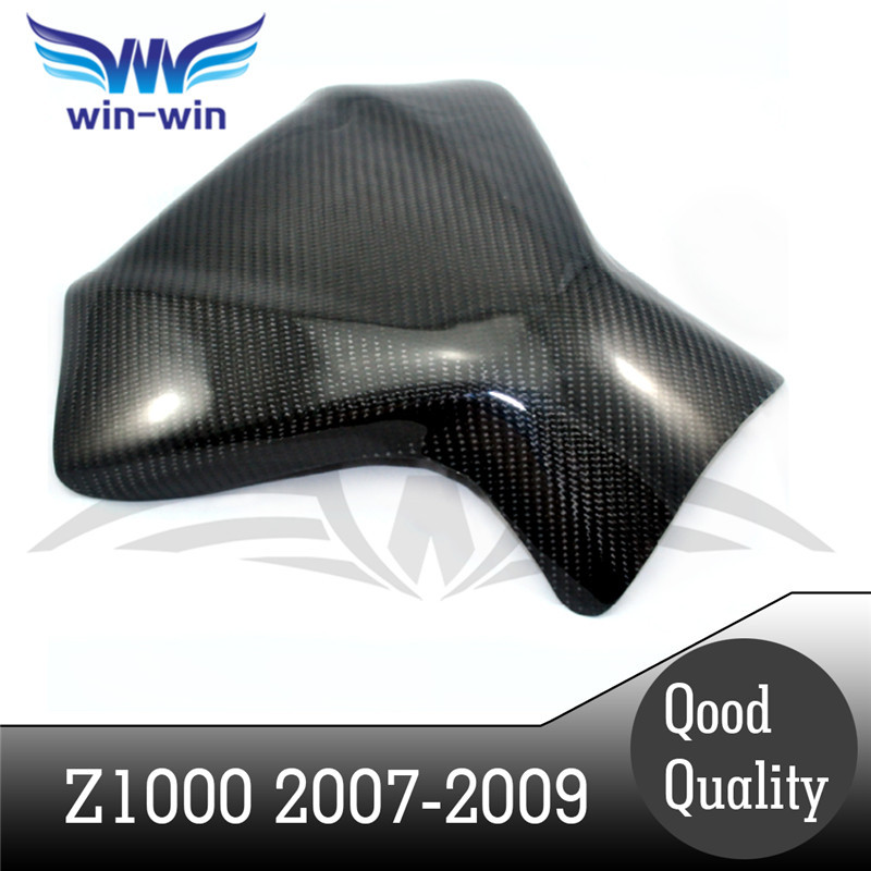 ФОТО motorcycle accessories black color carbon fiber fuel gas tank protector pad shield rear carbon fiber for KAWASAKI Z1000 07-09