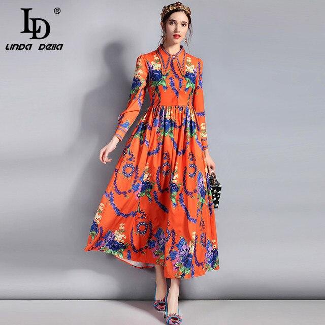 Ld Linda Della New 2018 Fashion Runway Designer Dress Women S Long Sleeve Turn Down Collar