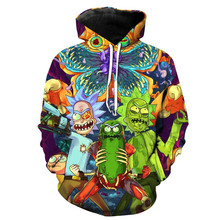 2018 hot sale new style hip hop fashion hoodies 3d cartoon hot rick and morty printed