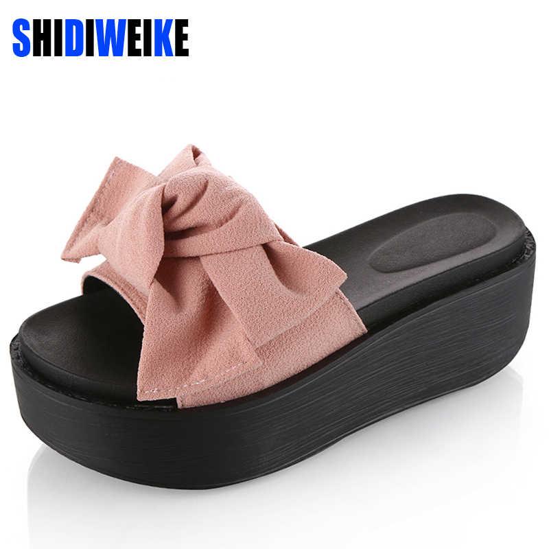 SHIDIWEIKE большой бабочкой женщина Пляжные сланцы летние сандалии Нескользящие тапочки Босоножки на платформе Размер 34–39 B768