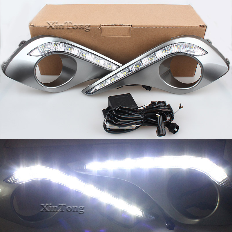 1 Set Daytime Running Lights With Turn Off and Dimming DRL Daylight LED For Toyota Highlander 2012 2013 2014 2015 Car styling