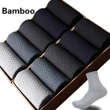 10 Pairs/Lot Men Bamboo Fiber Socks Compression Harajuku Long Business Casual Mens Dress Sock For Gift Plus Size43-46