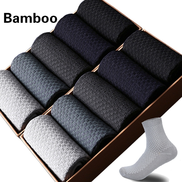 $ US $11.46 10 Pairs/Lot Men Bamboo Fiber Socks Men Compression Harajuku Long Socks Business Casual Mens Dress Sock For Gift Plus Size43-46