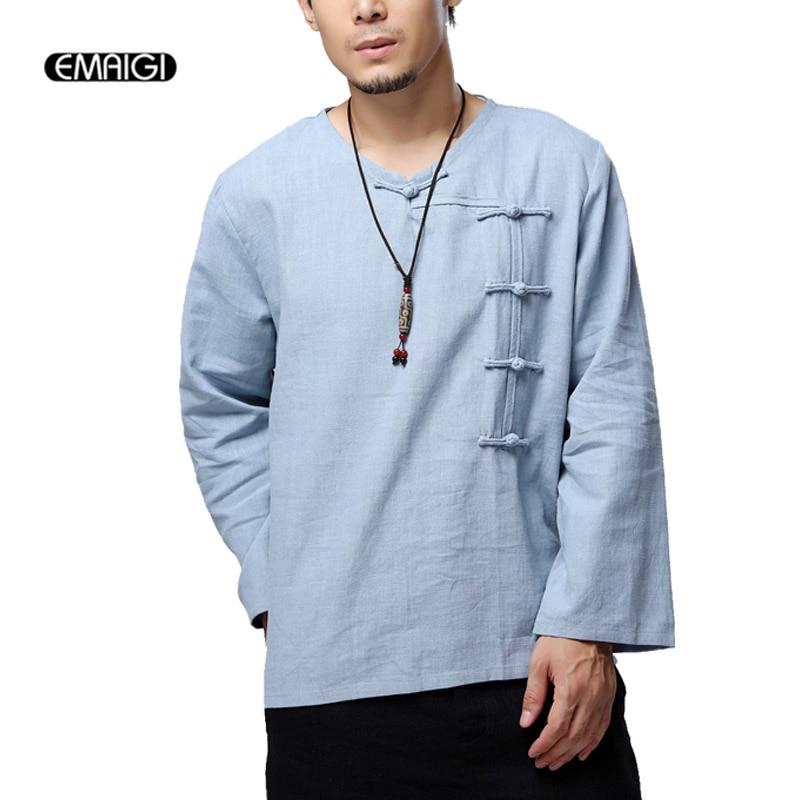 Hommes chine Style bouton décontracté à manches longues T-Shirt Top qualité lin mâle lâche col en v t-shirts
