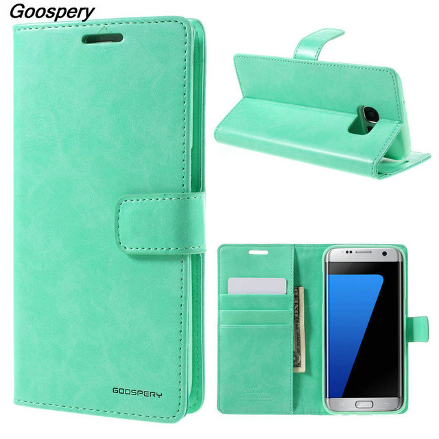 check out f6d6e 710ca US $8.99 |For Samsung S7 Edge Case Original MERCURY GOOSPERY Blue Moon Card  Holder Leather Flip Cover For Samsung Galaxy S7 Edge G935-in Wallet Cases  ...