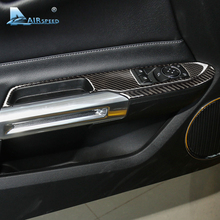Airspeed Carbon Fiber Car Window Control Switch panel Decor Frame Cover for Ford Mustang 2015 2016 2017 Car Styling Sticker